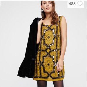 NWOT Free People Mini Shift Mustard Beaded Dress